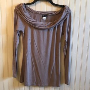 Venus Off the shoulder taupe long sleeve shirt